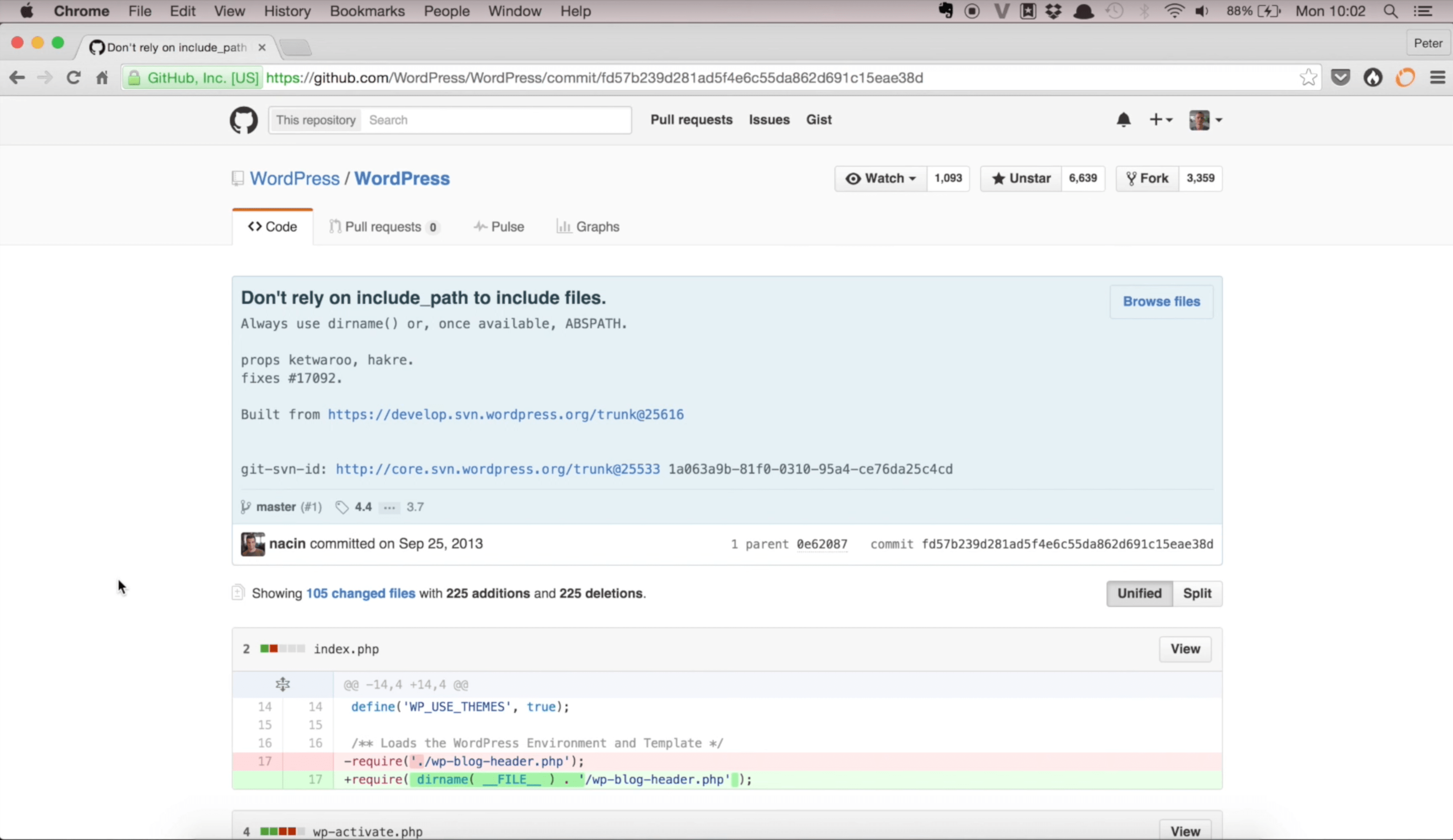 Commit on GitHub by Nacin